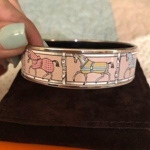 Hermes Pink Prancing Horse Enamel Bracelet size 65